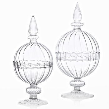 Apothecary - Globe Fluted SM 4W/9H Clear