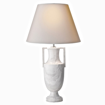 Lamp Table Burt Urn White Marble 15W/28H