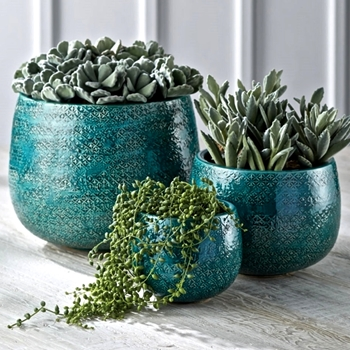Planter - Dalton Teal 11x9,9x7,6x5 SET3