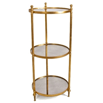 Side Table Etagere Fluted Gold/Mirror 15W/36H