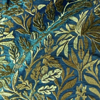 43. Verde Silk Dupioni Embroidery Oak Leaf Gold