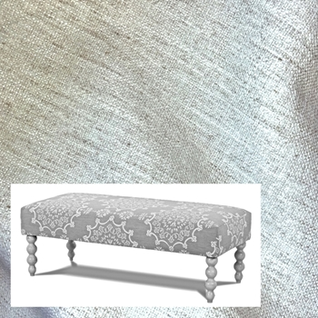Bench Audrey White Crypton Upholstery 47W/21D/17H Grey Wash Legs