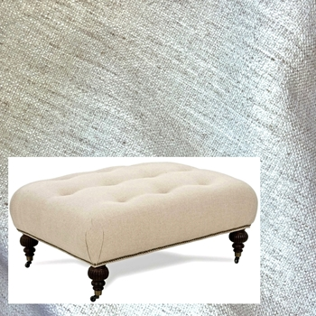 Ottoman Bette Ivory Crypton 41W/31D/18H Antique Black Leg, Pewter Castors & Nails