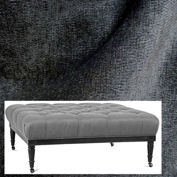 Ottoman Lawrence 44W/44D/18H Graphite Pepper Velvet, Antique Black Leg, Pewter Castors