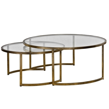 Coffee Table Rhea Nest Set2 42in Round 18H Bronze/Glass