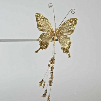 X - Butterfly Clip Golden Long Tail 12in