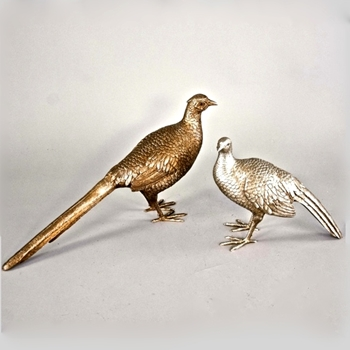 Pheasant Pair Bronze & Silver 14 & 25in