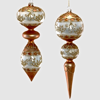 X - Finial Ornament Copper Ivory Garland 10in