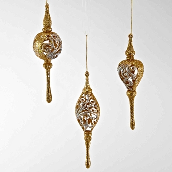 X - Finial Ornament Lace Cut Out Gold 7in