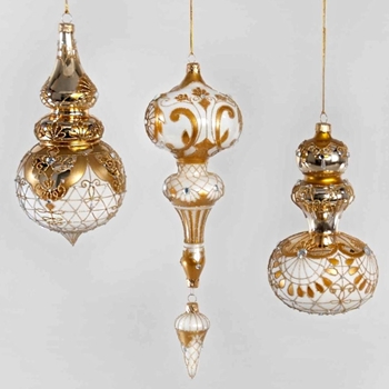 X - Finial Ornament Gilded Thread 9in