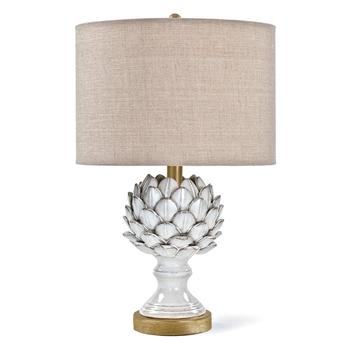 Lamp Table Artichoke White Linen Drum Shade 13W/21H
