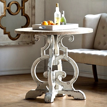 Accent Table - Scroll White Wash 36W/32H