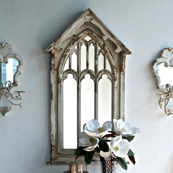 27W/48H Mirror Cathedral Vintage White
