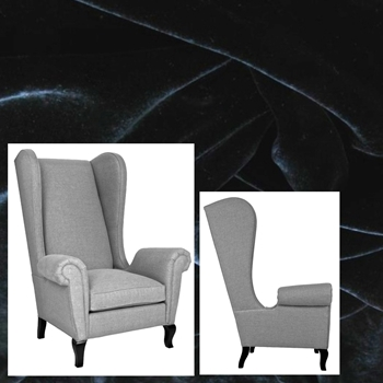 Armchair Wing Cordell Black 39W/40D/52H Pepper Leg