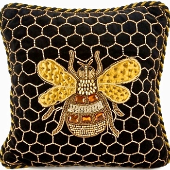 Pillow Queen Bee Black Gold 14SQ