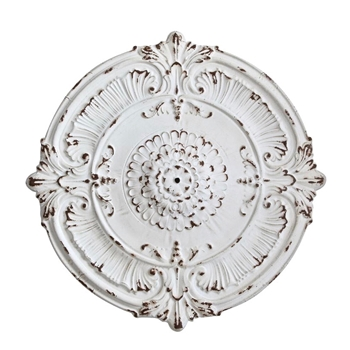 39W/39H Medallion Plaque Antique White Metal