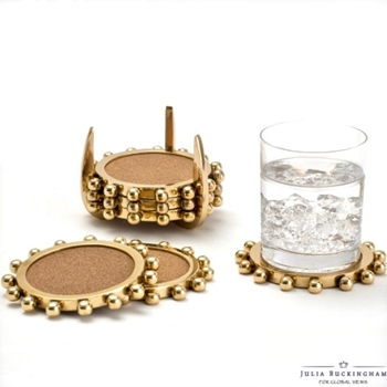 Coaster Set Starburst Gold Set of 6 W/stand