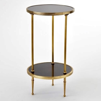Accent Table - Petit 2Tier Brass/Granite 12W/22H