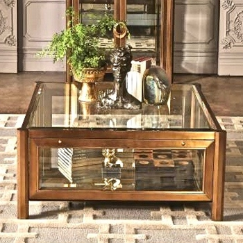 Coffee Table - Apothecary Brass Clad 40SQ/18H