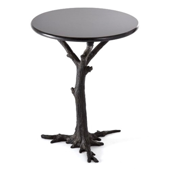 Accent Table - Faux Bois Black 16RND/22H