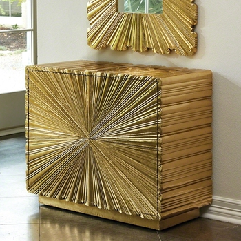 Chest - Linen Fold Brass Clad 2 Draw 39W/18D/32H