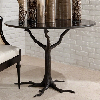 Dining Table - Faux Bois Black 42RND/29H