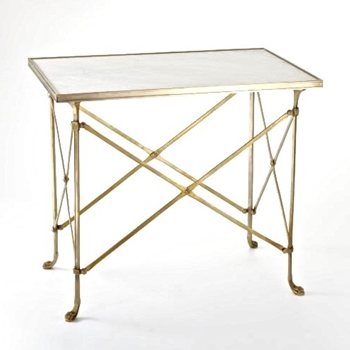 Accent Table - Directoire White 30W/19D/27H Brass