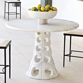 Dining Table - Taper Circle White Marble 40W/28H