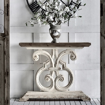 Console - Scroll White Wash 43W/14D/36H