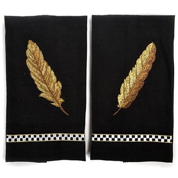 Feather Embroidered Guest Towel Back Gold Linen