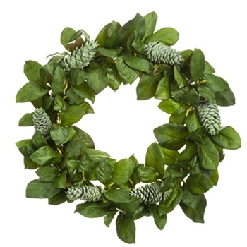Wreath Magnolia Leaf & Cone Verde Green 32in