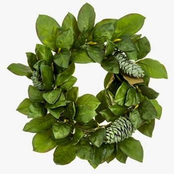 Magnolia Leaf & Cone Wreath Verde Green 24in
