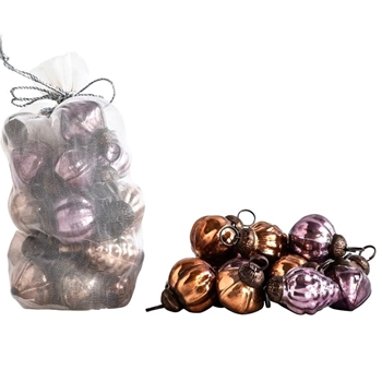 Bauble Kugel Mini Copper Amethyst Bag 36PC