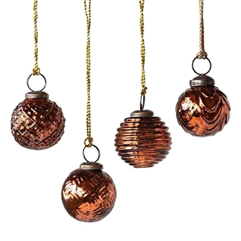 Bauble Kugel Embossed Copper 2in