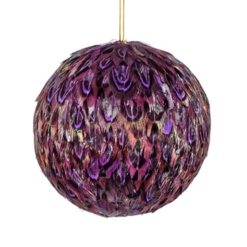 K - Globe Amethyst Feathers 4in