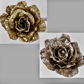 K - Rose Clip Glitter Gold or Silver 4in