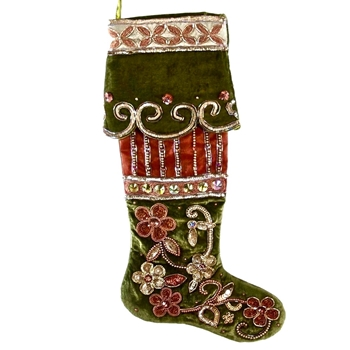 K - Stocking  Boot Toe Moss & Ruby Velvet 22in