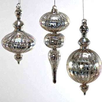 K - Finial Mercury Glass 6in Silver