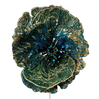 K - Poppy Clip Emerald Teal 6in