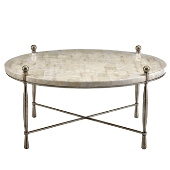 Coffee Table - Clarion Crystal Stone Silver 40W/20H