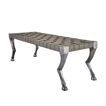 Bench - Flicka Patinaed Aluminium Puddle Leather 60W/17D/17H
