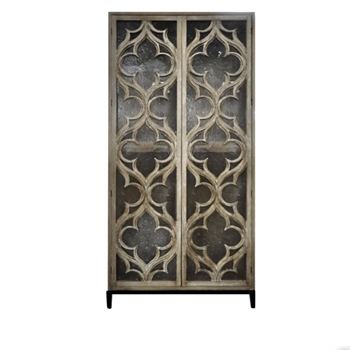 Armoire - Delphine 43W/20D/84H Hardwood & Seeded Resin Silvered