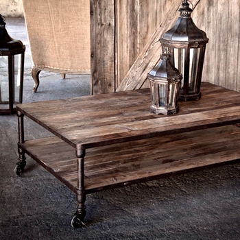 Coffee Table - Castor Patina Reclaimed Wood 55W/36D/17H