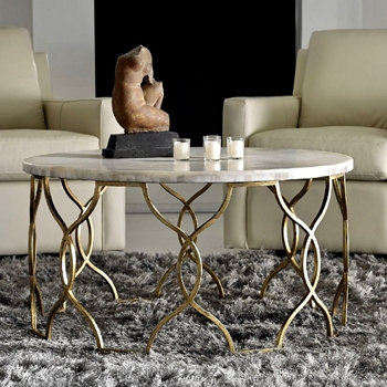 Coffee Table - Corrina Onyx Tile on Gilded Iron 36RND/20H