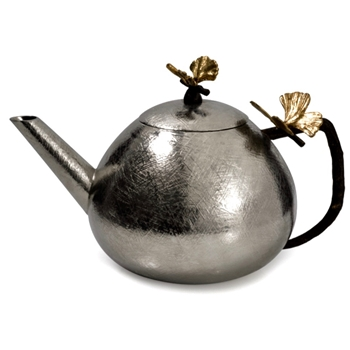 Aram Butterfly Gingko Teapot Round 56OZ 9in