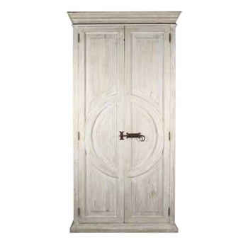 White Wash Circle Armoire