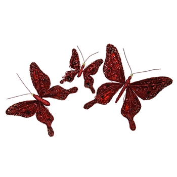 81. Ruby Butterfly Ornament 9in
