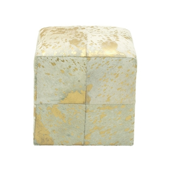 Hide Ottoman Cube Gold 17in