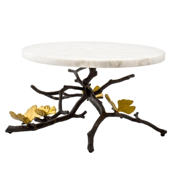 Aram Butterfly Gingko Cakes Stand 11W/7H Wht