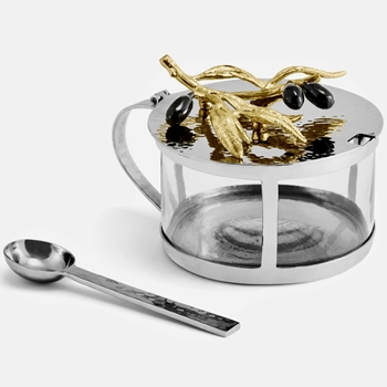 Aram Olive Gold Jar W/Spoon 5W/3H